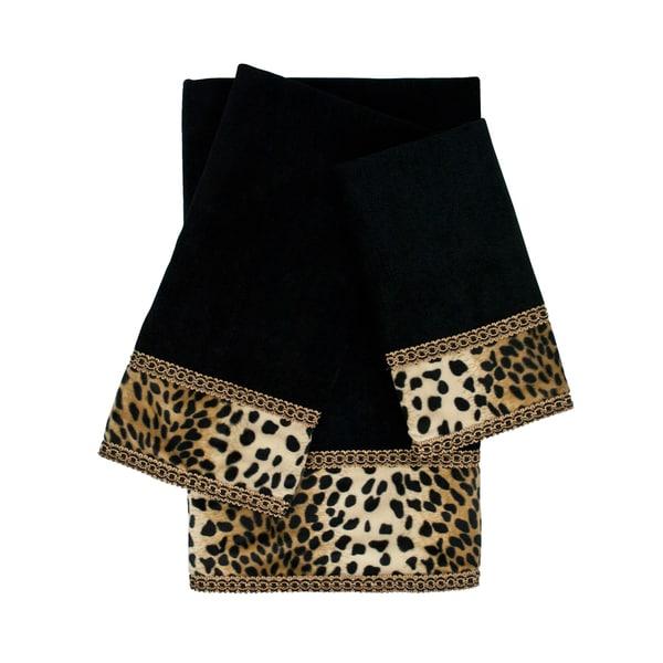Sherry Kline Leops Black 3-piece Embellished Towel Set