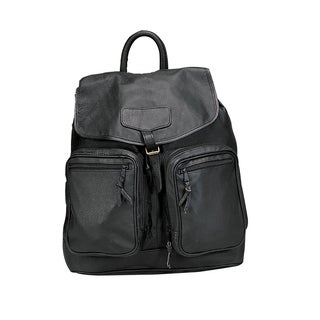 Goodhope Black Leather Drawstring Flapover Backpack