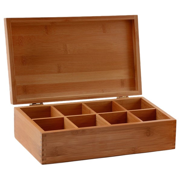 Belmint 8 Compartment Bamboo Tea Storage Box With Wood Lid