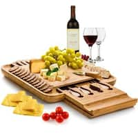 Belmint Bamboo Cheese Board and Cutlery Set with Slide-Out Drawer