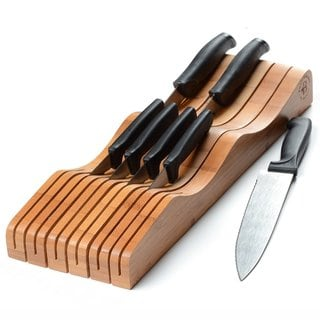 Belmint Bamboo In-Drawer Knife Block Holds 10-15 Knives