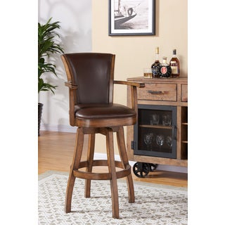 Armen Living Raleigh Arm Swivel Chestnut Finish and Kahlua Pu Wood Barstool