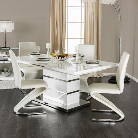Novas Contemporary White 5-piece Gloss Lacquer Dining Set by FOA