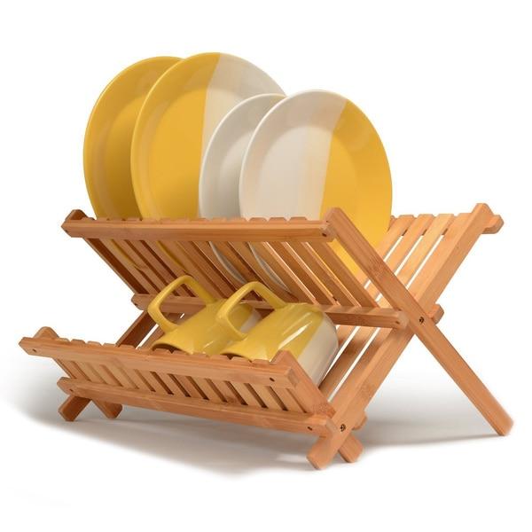 Bambusi Natural Folding Dish Rack