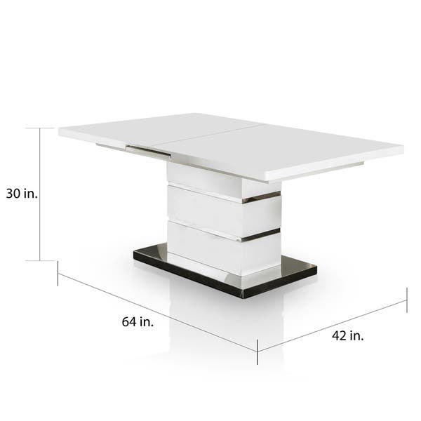 Novas Contemporary 78 Inch Glossy White Dining Table By