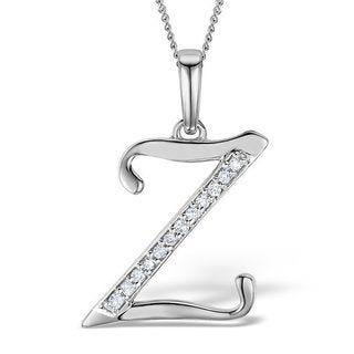 Trillion Designs 10k Gold Diamond Accent Initial 'Z' Pendant Necklace (H-I, I1-I2)