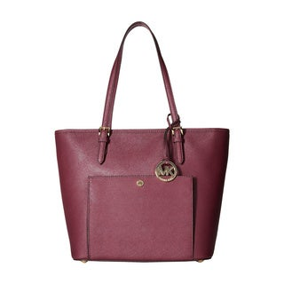 Michael Kors Women's Jet Set Item Large Top Zip Pocket Plum Leather Tote