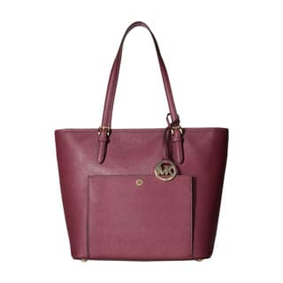 Michael Kors Women's Jet Set Item Large Top Zip Pocket Plum Leather Tote|https://ak1.ostkcdn.com/images/products/13223928/P19941447.jpg?impolicy=medium