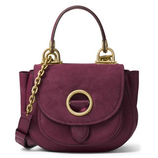 Michael Kors Isadore Plum Leather Top Handle Messenger Bag