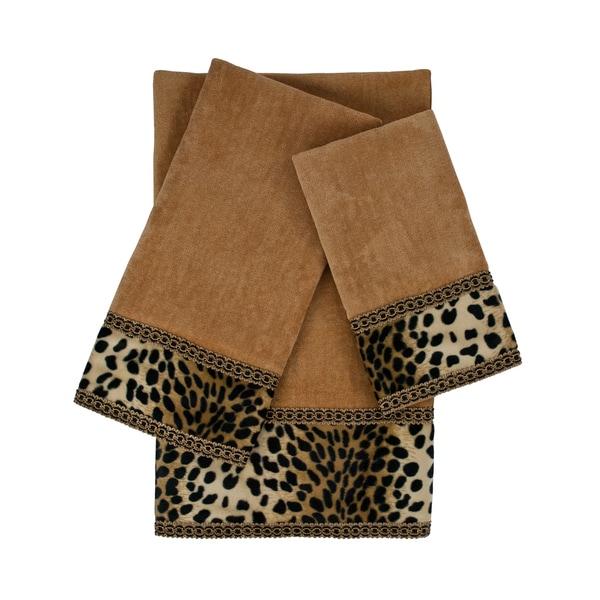 Sherry Kline Leopard Nugget 3-piece Embellished Towel Set