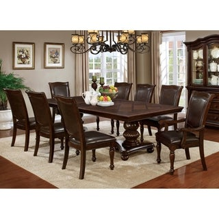 Furniture of America Shayson Traditional Formal 9-piece Brown Cherry Dining Set