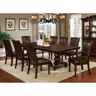 Furniture Of America Shayson Traditional Formal 9 Piece Brown Cherry Dining Set