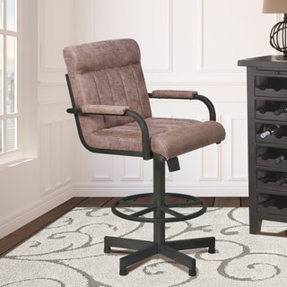 Armen Living Vancouver Mineral Finish Metal and Bandero Tobacco Fabric Tilt Swivel Barstool
