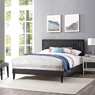 Josie Black Vinyl Platform Bed with Squared Tapered Legs