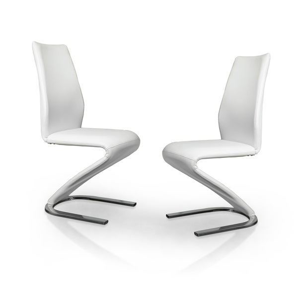 Furniture of america novas contemporary white faux leather for Z shaped dining chair
