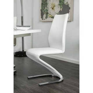 Furniture of America Novas Contemporary White Faux Leather Z-Shaped Side Chair (Set of 2)