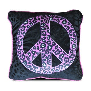 Seventeen Collection Natalie Peace Sign Black and Purple Polyester Throw Pillow