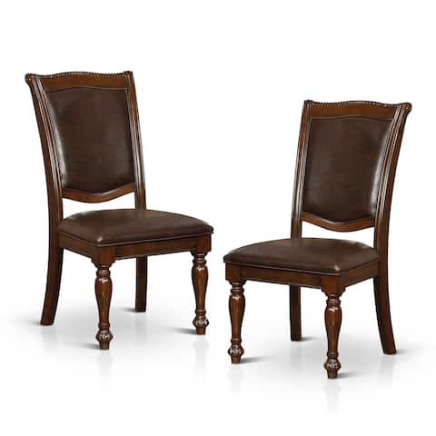 Copper Grove Madzharovo Traditional Formal Brown Cherry Leatherette Dining Chair (Set of 2)