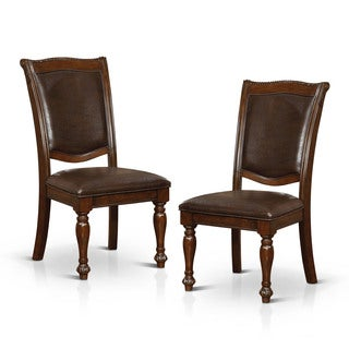 Furniture of America Shayson Traditional Formal Brown Cherry Leatherette Side Chair (Set of 2)
