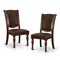 Furniture of America Shayson Traditional Formal Brown Cherry Leatherette Dining Chair (Set of 2)
