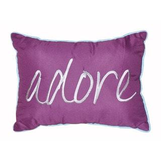 Seventeen Purple Polyester Adore Script Oblong Decorative Throw Pillow