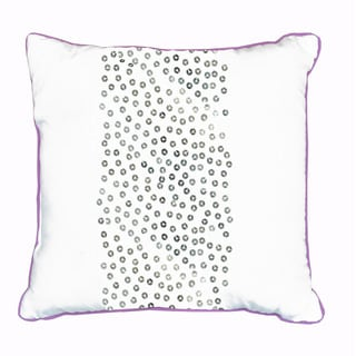 Seventeen Sequin Band Embellished Decorative White/Purple Polyester Throw Pillow