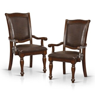 Furniture of America Shayson Traditional Formal Brown Cherry Leatherette Arm Chair (Set of 2)