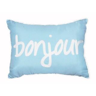 Seventeen Bonjour Pastel Script Blue Polyester Square Decorative Throw Pillow