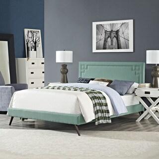 Josie Laguna Fabric Platform Bed with Round Splayed Legs