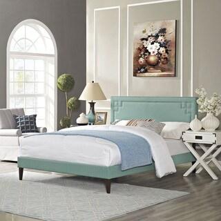 Josie Laguna Fabric Platform Bed with Squared Tapered Legs