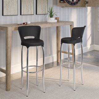 CorLiving Black and Chrome Bar Height Barstools (Set of 2)