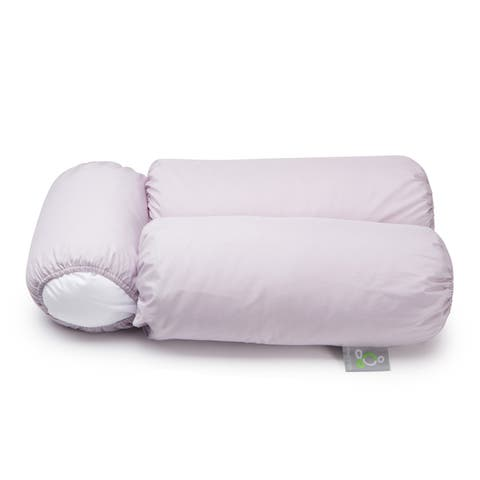 Sleep Yoga Multi-position Body Pillow and Set of 2 Silver Pillow Covers - White