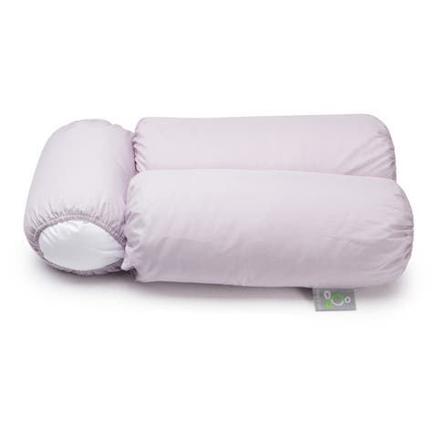 Sleep Yoga Multi-Position Body Pillow and 2 Lavender Pillow Covers - White