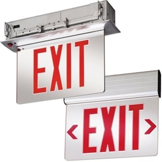 Lithonia Lighting EDGNY 2 R EL M4 Silver/Red Acrylic and Aluminum Stencil Battery-operated Edge-lit LED Exit Sign