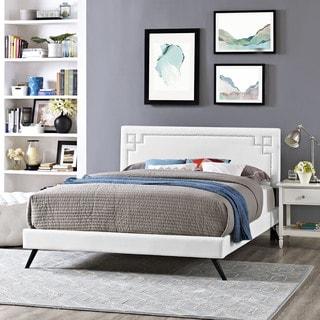Josie White Vinyl Platform Bed with Round Splayed Legs