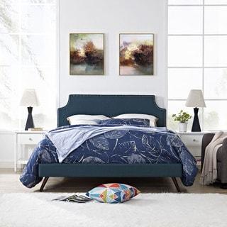 Laura  Azure Fabric Platform Bed with Round Splayed Legs
