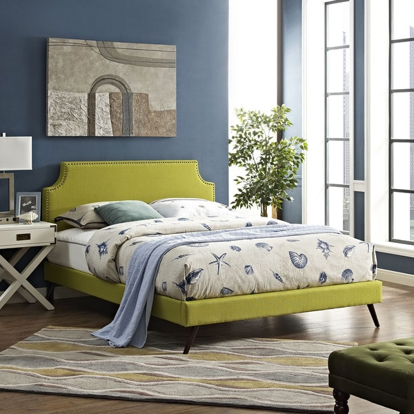 Shop Laura Wheatgrass Fabric Platform Bed With Round