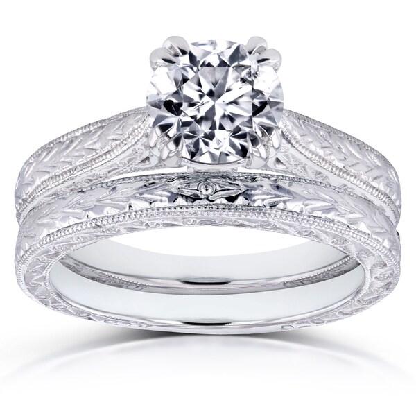 Annello by Kobelli 14k White Gold 1 Carat Round Brilliant Diamond Antique Engravings Bridal Rings Set (H-I, I1-I2)