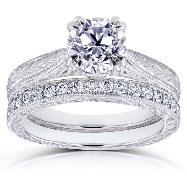 Annello by Kobelli 14k White Gold 1 1/3ct TDW Round Brilliant Diamond Antique Engravings Bridal Rings Set (H-I, I1-I2)
