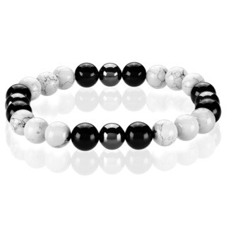 Crucible Turquoise and Onyx Spiritual Wellness and Healing Stone Bead Stretch Bracelet (10mm) - White