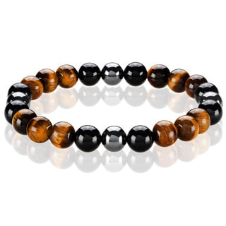 Crucible Men's Tiger Eye, Onyx and Hematite Spiritual Wellness and Healing Stone Bead Stretch Bracelet - 8.5 inches (10mm Wide)