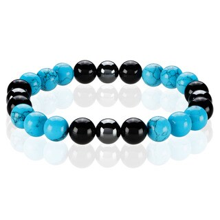 Crucible Men's Turquoise, Onyx and Hematite Spiritual Wellness and Healing Stone Bead Stretch Bracelet - 8.5 inches (10mm Wide)