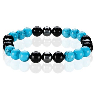 Crucible Turquoise and Onyx Spiritual Wellness and Healing Stone Bead Stretch Bracelet (10mm) - Blue