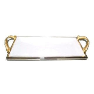 "Elegance Gold Feather Rectangular Tray L: 13.5"""