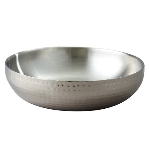 "Heim Concept Double Wall Stainless Steel Serving Bowl 14.6"" Dia, Hammered Finish"