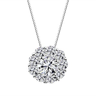 Sterling Silver Round Cluster Pendant Necklace Made with Swarovski Zirconia