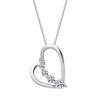 Sterling Silver Graduating Journey Heart Pendant Necklace Made with Swarovski Zirconia