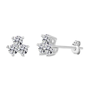 Sterling Silver and Zirconia 3-Stone Stud Earrings Made with Swarovski Zirconia