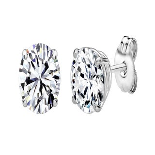 Sterling Silver 7 x 5 mm Oval-Cut Stud Earrings Made with Swarovski Zirconia