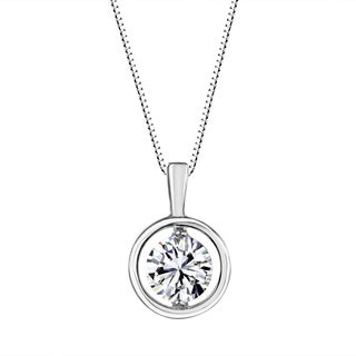 Sterling Silver 6mm Round Solitaire Framed Pendant Made with Swarovski Zirconia